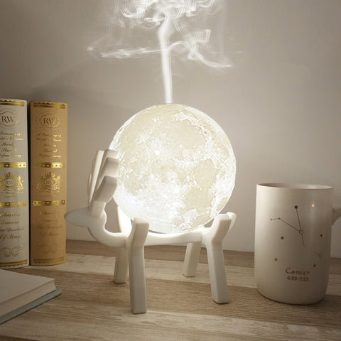 Image of 880ML Ultrasonic Moon Air Humidifier Aroma Essential Oil Diffuser USB Mist Maker Humidificador with LED Night Lamp