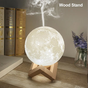 880ML Ultrasonic Moon Air Humidifier Aroma Essential Oil Diffuser USB Mist Maker Humidificador with LED Night Lamp