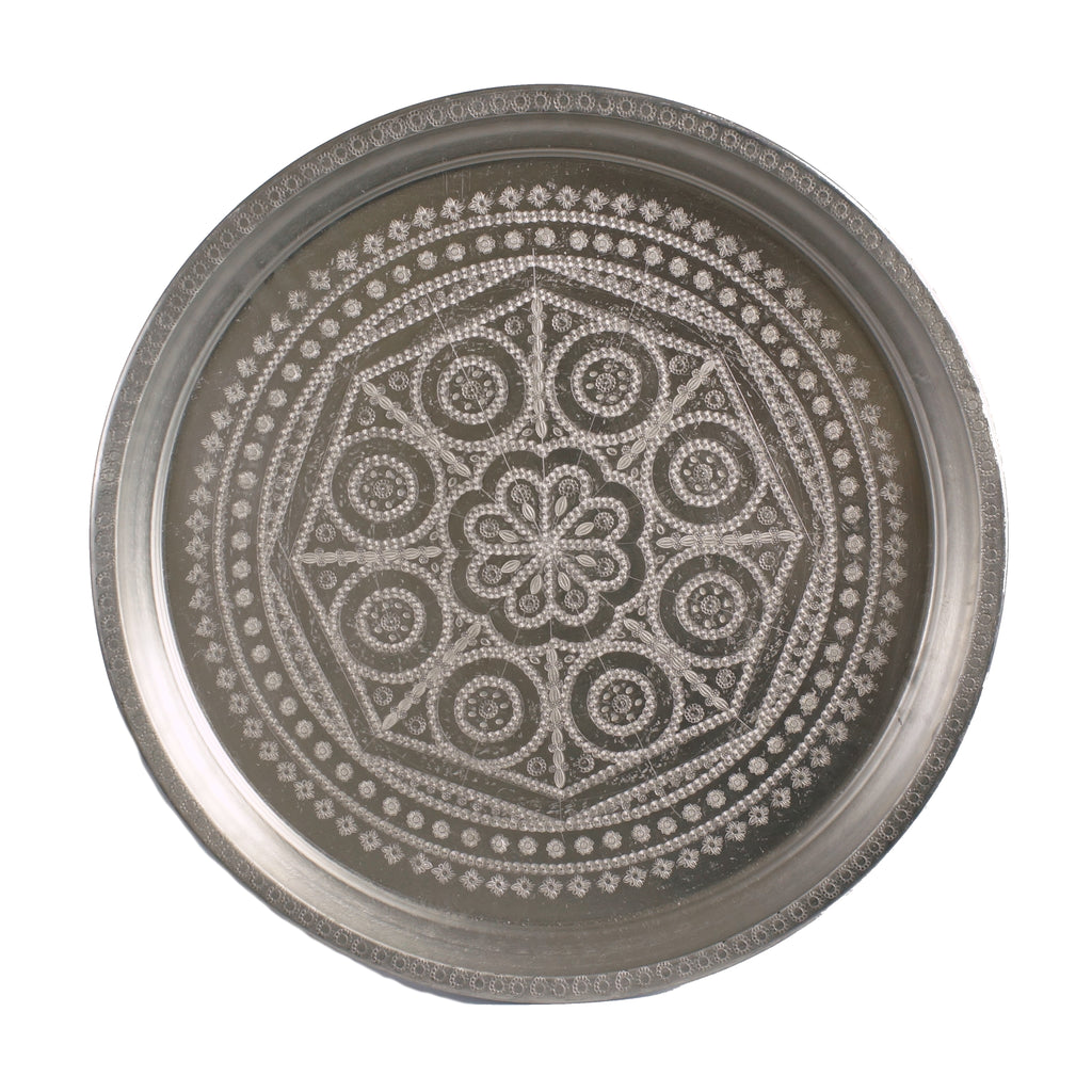 Antique silver Moroccan tray I09