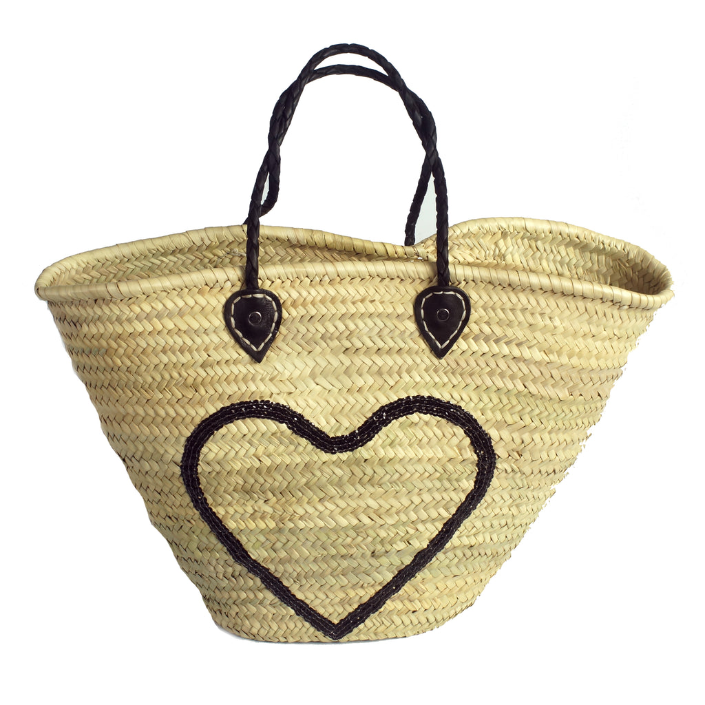 Basket shopping black heart