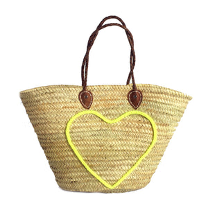 Basket shopping fluo yellow heart
