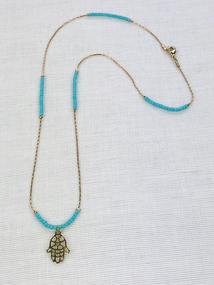 Necklace TURKOISE with HAND OF FATIMA pendant
