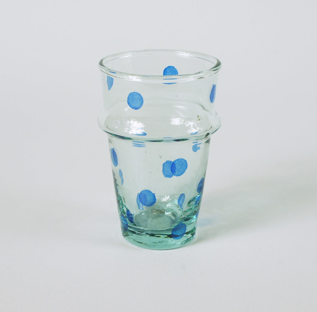 Recycled glass handpainted blue dots