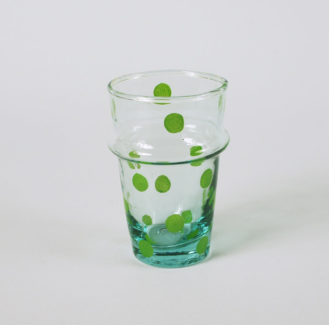 Recycled glass handpainted green dots