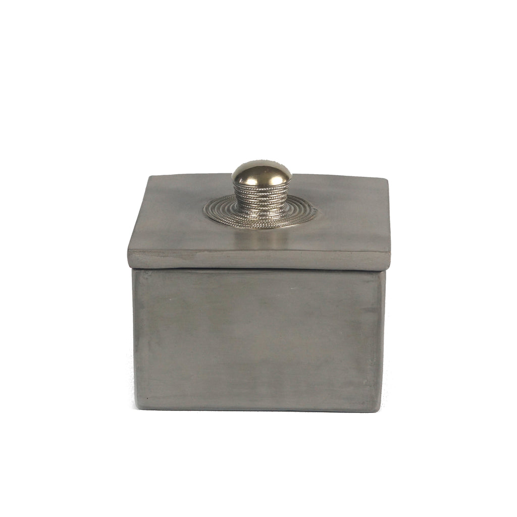 Tadelakt light grey square box