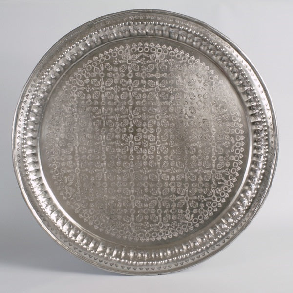 Antique silver Moroccan tray A01