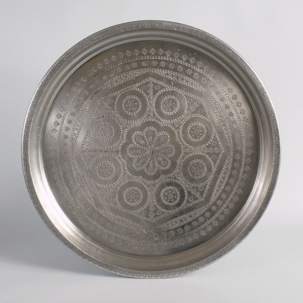 Antique silver Moroccan tray B02