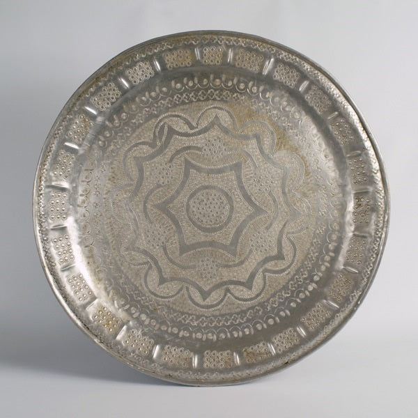Antique silver Moroccan tray E05