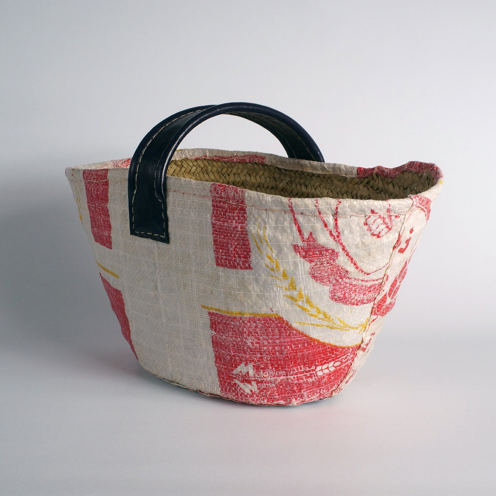Basket finished with a recycled flour bag RED