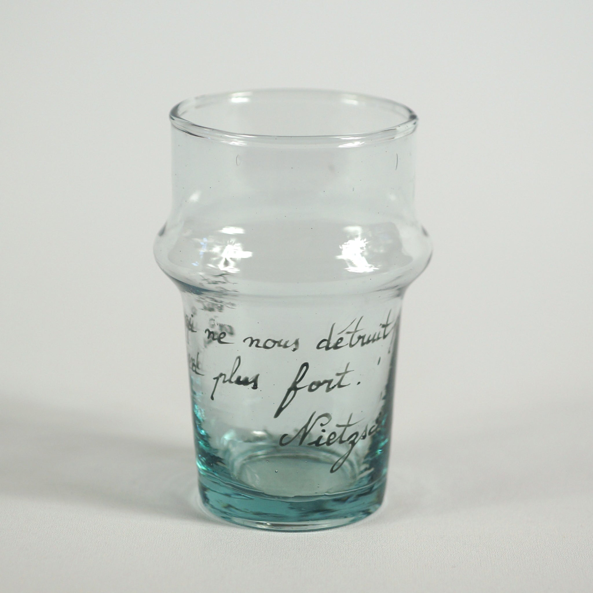 Recycled glass handpainted with Nietzsche quote