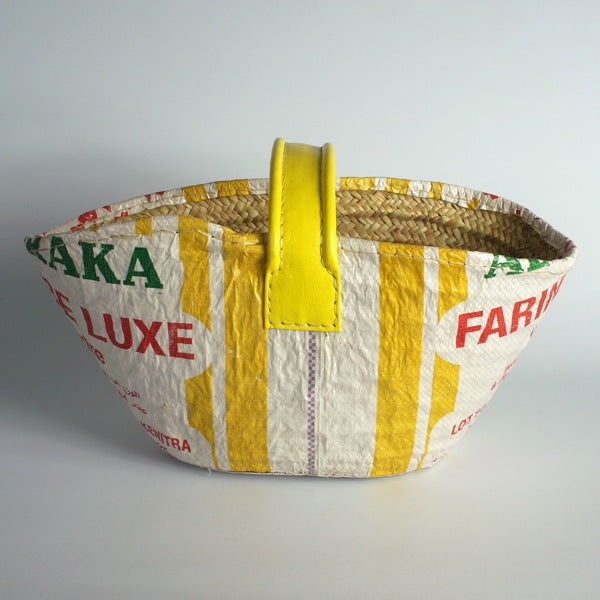 Basket finished with a recycled flour bag YELLOW