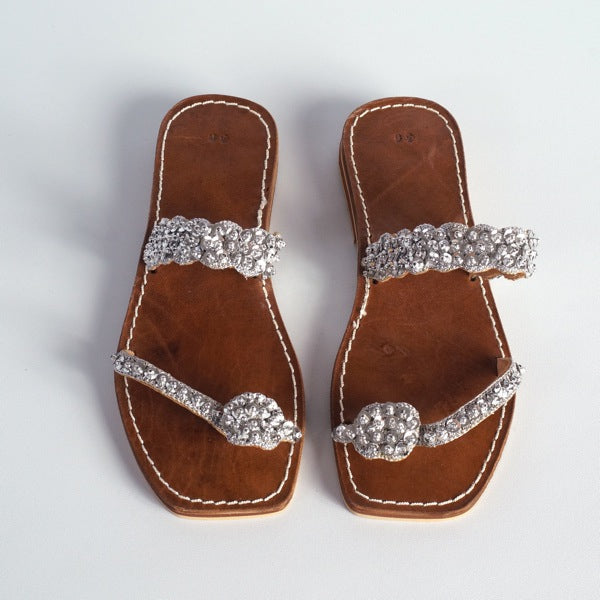 Moroccan sandals silver