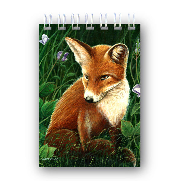 Fox A6 Wire Bound Notebook from a painting by Royden Price from Dormouse Cards