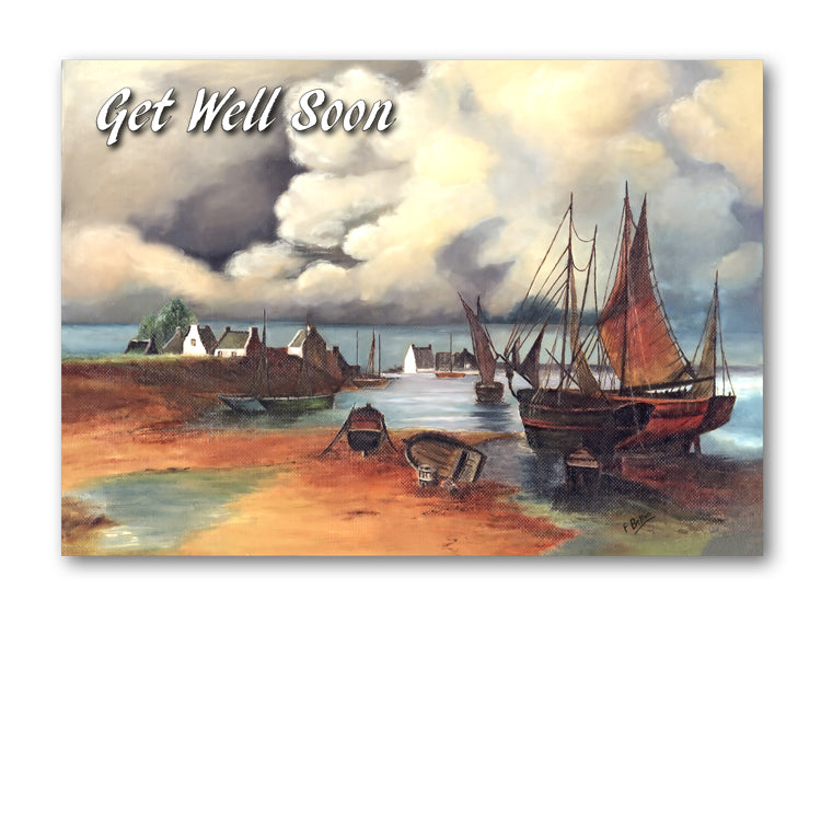 Seascape Get Well Soon Card by Florrie Belton from Dormouse Cards