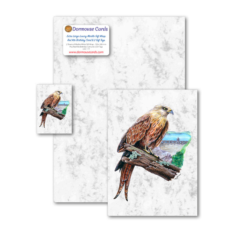 Luxury Marble Gift Wrap Red Kite Greetings Card and Red Kite Gift Tags