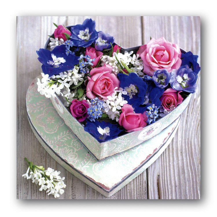 Valentine's Day Card - Heart of blue & pink flowers from Dormouse Cards
