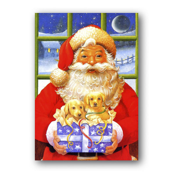 Courtier Christmas Card - Santa with Present, Puppies from Dormouse Cards