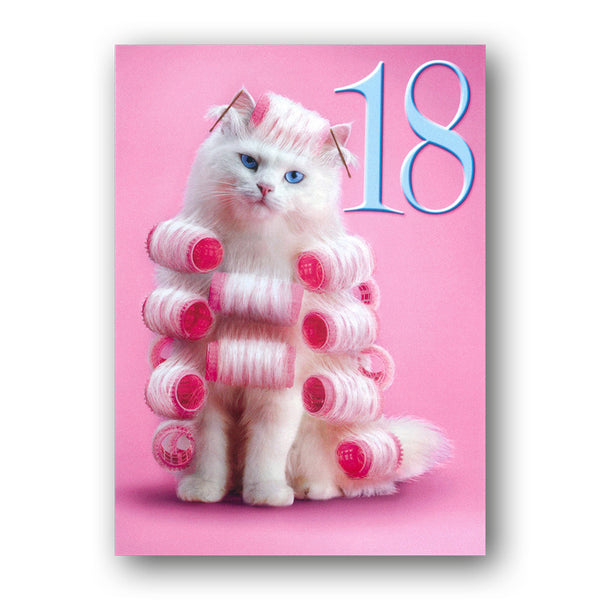 Funny Cat 18th Birthday Card - Curl Power! by Avanti