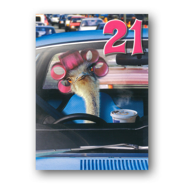 Funny Ostrich in Curlers 21st Birthday Card by Avanti by Dormouse Cards