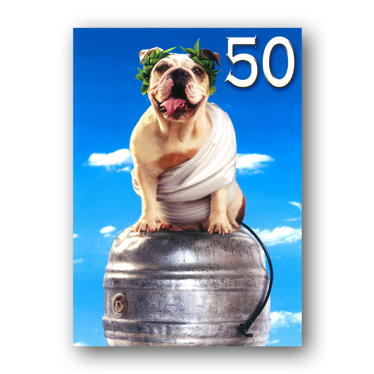 Funny Bulldog in Toga 50th Birthday Card by Avanti from Dormouse Cards