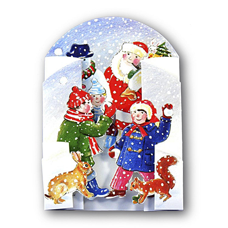 3D Courtier Christmas Card Snowball Fight from Dormouse Cards