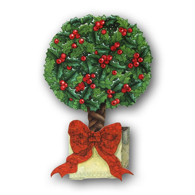 3D Effect Courtier Christmas Card - Topiary Holly Tree by Dormouse Cards