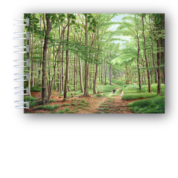A6 Wire Bound Sheepdog Border Collie running in forest Notebook from Dormouse Cards
