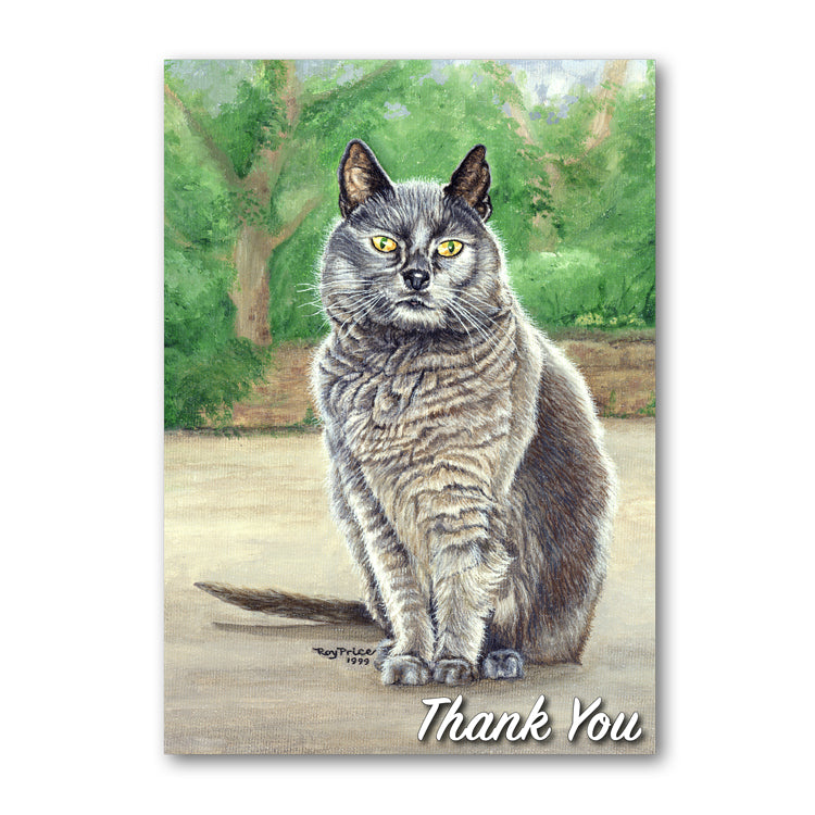 Suzy the Grey Cat Thank You Card from Dormouse Cards