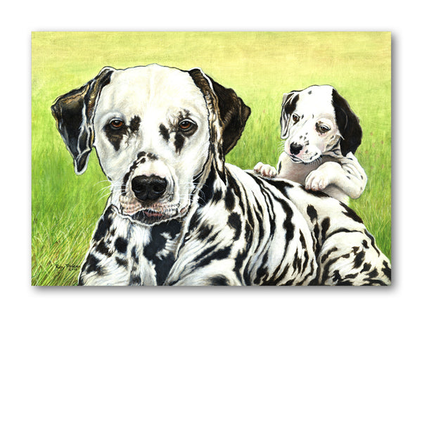 Dalmation Dog and Puppy Greetings Card