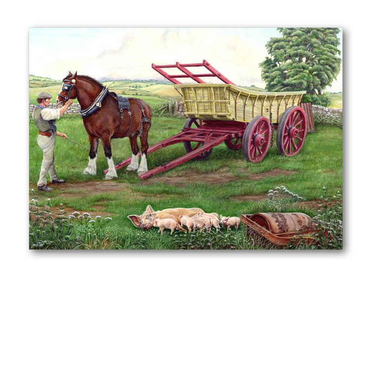 Shire Horse and Piglets Birthday Card from Dormouse Cards