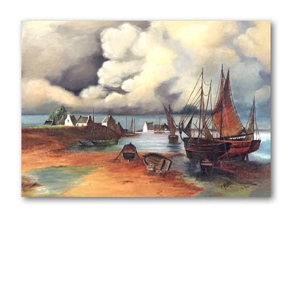 Dutch Old Master Style Seascape Painting Greetings Card by Florrie Belton from Dormouse Cards