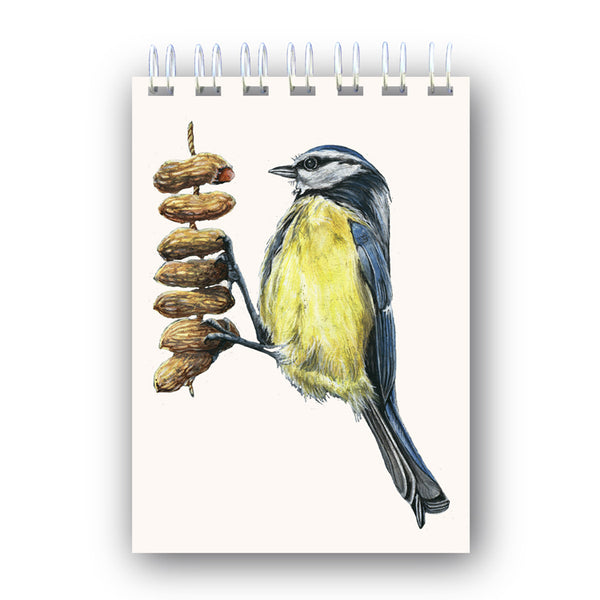 A6 Wire Bound Bluetit on Peanuts Notebook from Dormouse Cards
