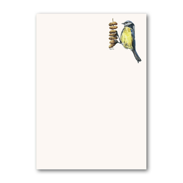Pack of 6 Blue Tit Perched on Peanut Notepaper from Dormouse Cards