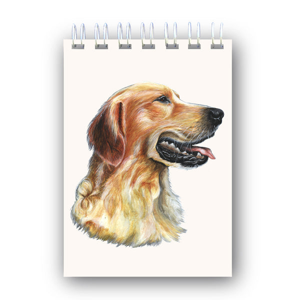 A6 Wire Bound Golden Retriever Notebook from Dormouse Cards