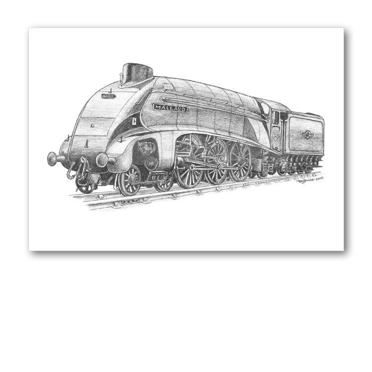 Pack of 5 Mallard Steam Train Notelets from Dormouse Cards