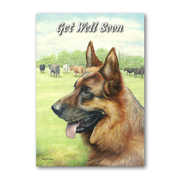 Alsatian German Shepherd Get Well Soon Card from Dormouse Cards