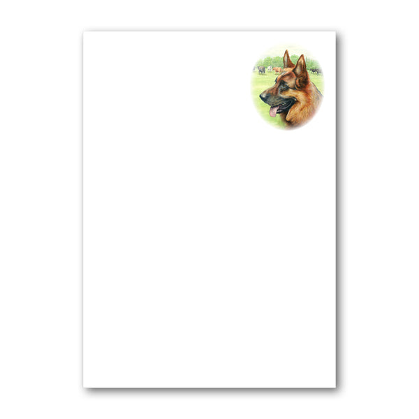 Pack of 6 Alsatian German Shepherd Dog Notepaper from Dormouse Cards