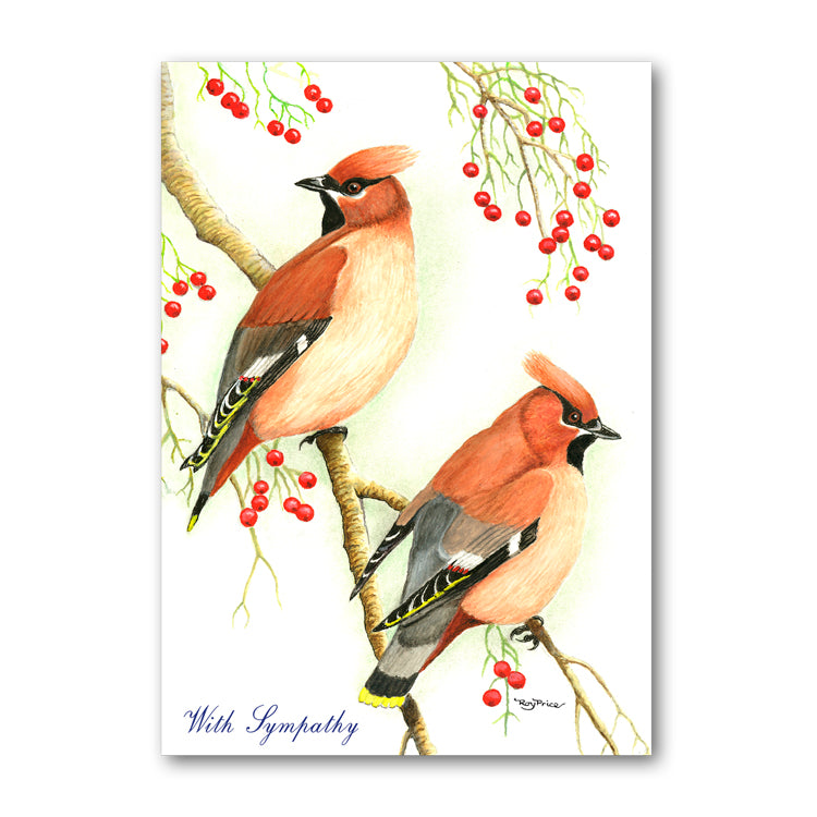 Cedar Waxwing Sympathy Card from Dormouse Cards