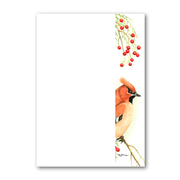 Pack of 6 Cedar Waxwing A5 Notepaper from Dormouse Cards