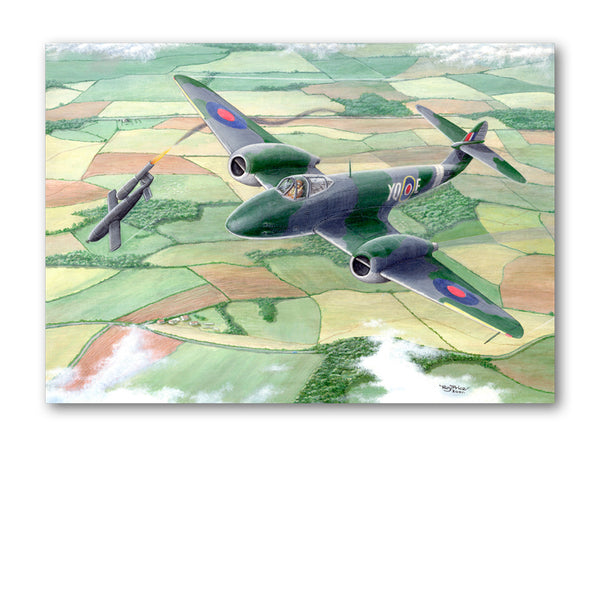Pack of 5 Gloster Meteor Shooting Down V1 Flying Bomb from Dormouse Cards