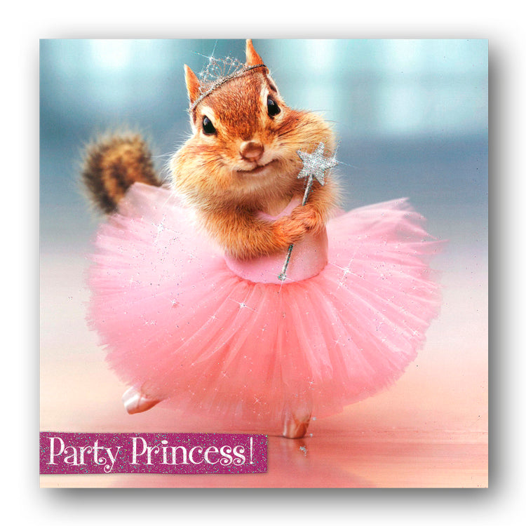 Funny Chipmunk Party Princess Birthday Card by Avanti from Dormouse Cards