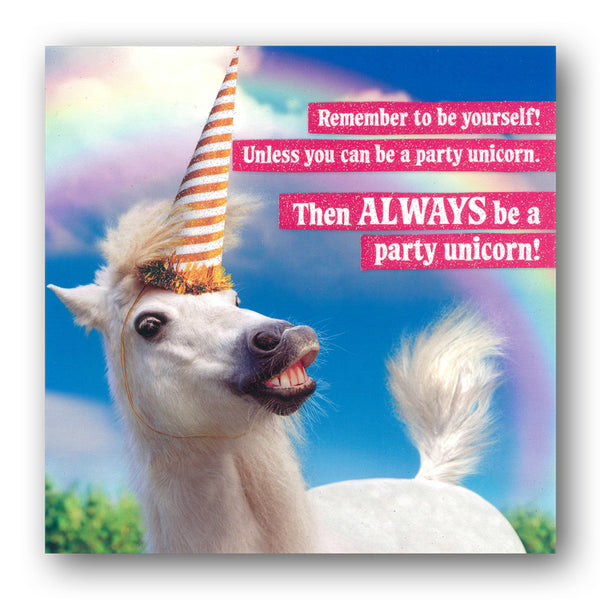Funny Party Unicorn Birthday Card by Avanti from Dormouse Cards
