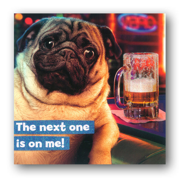 Funny Pug Dog with Pint Birthday Card by Avanti from Dormouse Cards