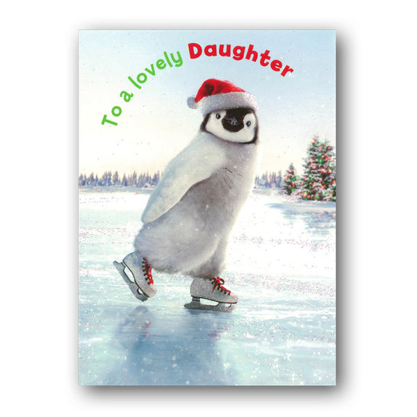 Funny Avanti Penguin Skating Christmas Card - Daughter from Dormouse Cards