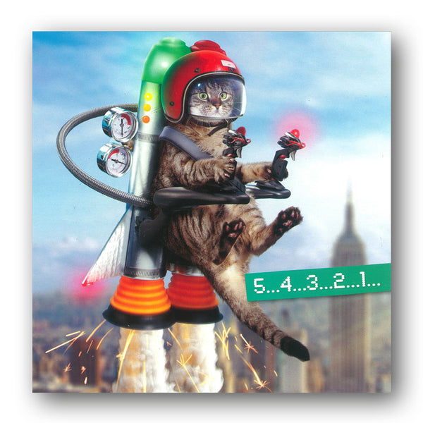 Funny Cat with Jet Pack Birthday Card by Avanti from Dormouse Cards