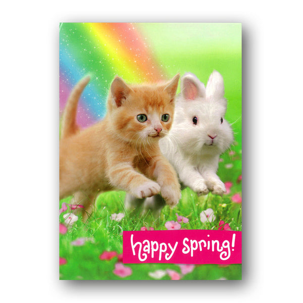 Cute Kitten & Bunny Easter Card by Avanti