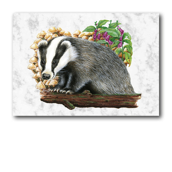 Fine Art Badger Greetings Card on Luxury Marble Board from Dormouse Cards