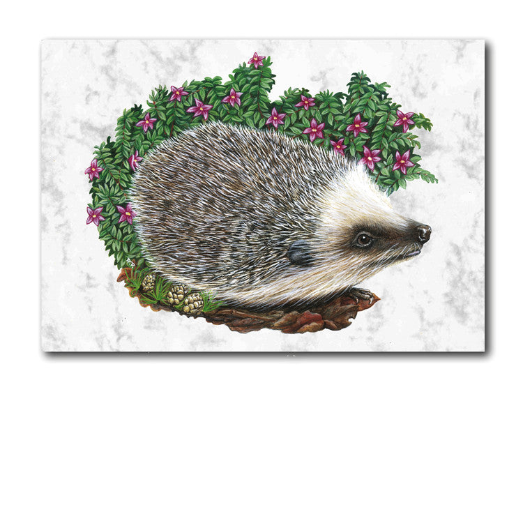 Fine Art Hedgehog Greetings Card on Luxury Marble board from Dormouse Cards