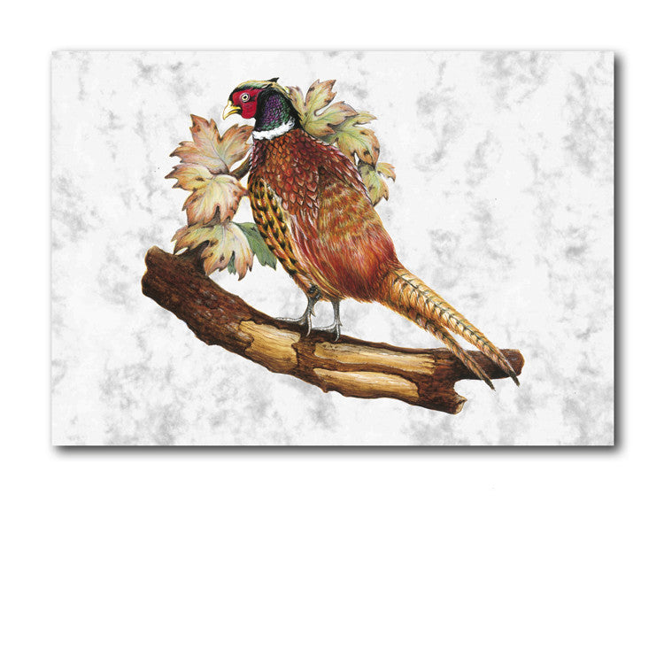 Fine Art Pheasant Greetings Card on Luxury Marble board from Dormouse Cards
