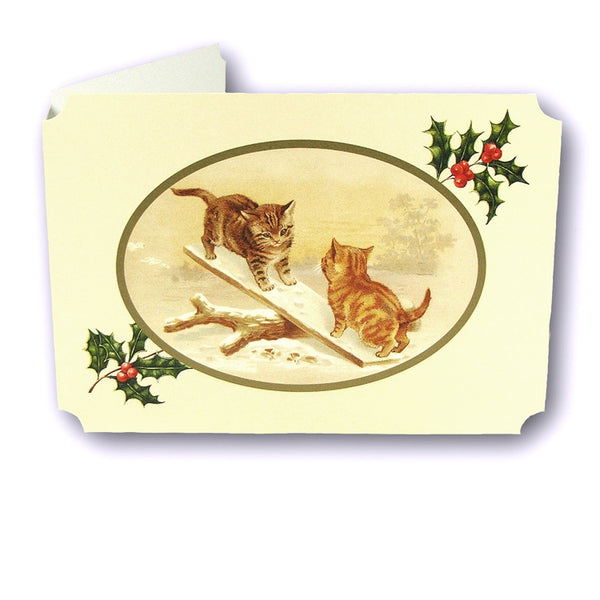 Courtier Catlands Christmas Card Cats on a See Saw from Dormouse Cards